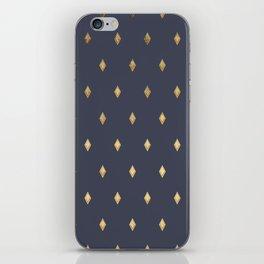 Simple Modern Gold Diamond Navy Blue Pattern iPhone Skin