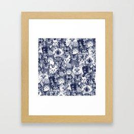 CHRISTMAS CATS blue Framed Art Print