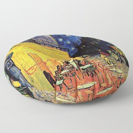 The cafe terrace on the place du forum, Arles, at night, by Vincent van gogh.  Floor Pillow