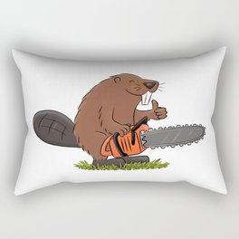 Beaver with chainsaw cartoon Rectangular Pillow