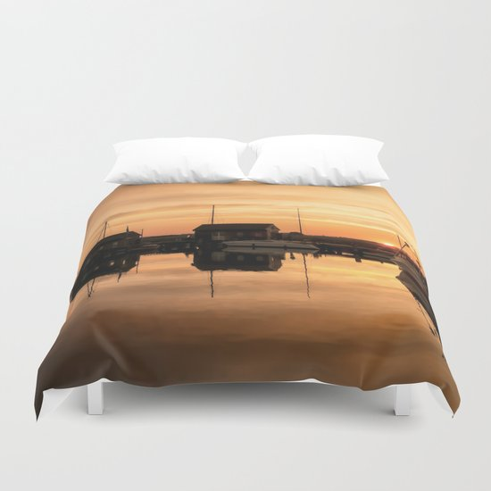 Sunrise at the sea - Harbour Ocean Water Ship Boat Duvet Cover