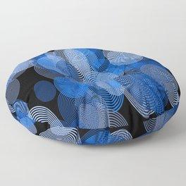 circle rings abstract optics blue Floor Pillow
