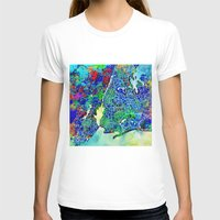 new york map T-shirts featuring new york new york map by Bekim ART
