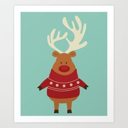 Rudolph Red Nosed Reindeer in Ugly Christmas Sweaters Art Print