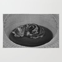 sofa Area & Throw Rugs featuring sleeping cat on sofa by gzm_guvenc