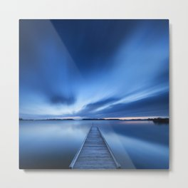 Jetty on a lake at dawn, near Amsterdam The Netherlands Metal Print
