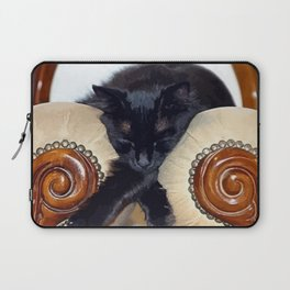Relaxed Black Cat Sleeping Between Two Chairs  Laptop Sleeve
