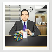 michael scott Art Prints featuring Steve Carell as Michael Scott (The Office) by Leo Maia