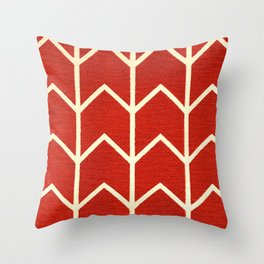 Red and White Chevron Print Throw Pillow