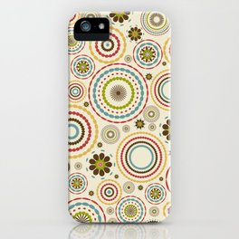 Vintage floral background with round flowers iPhone Case