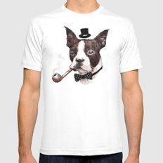 Mr. Bulldog MEDIUM White Mens Fitted Tee