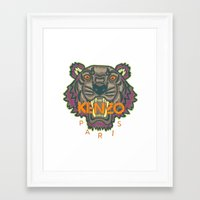 kenzo Framed Art Prints featuring Kenzo Tiger with seams by cvrcak