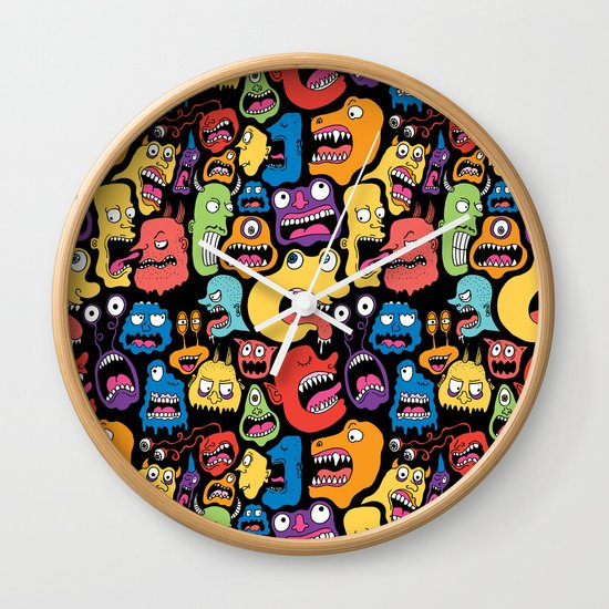 Monster Faces Pattern Wall Clock