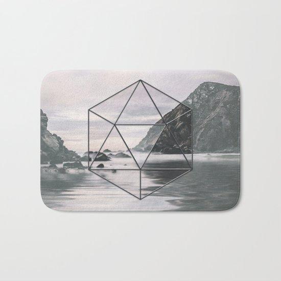 Surreal Geometric Calm Water Landscape View Hexagon Bath Mat