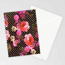 Elegant Pink Vintage Flowers Black Gold Polka Dots Stationery Cards