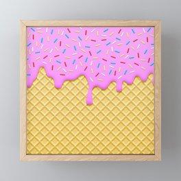 Strawberry Ice Cream Framed Mini Art Print