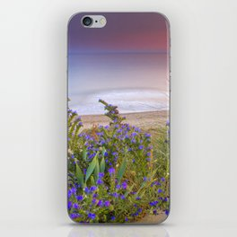 """Purple flowers at the sea sunset"" iPhone Skin"