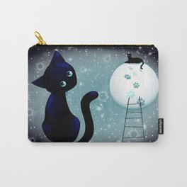 Blue Kitty Dream on the Moon Carry-All Pouch