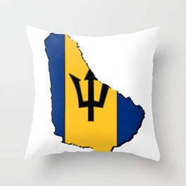 Barbados Map with Barbadian Flag Throw Pillow