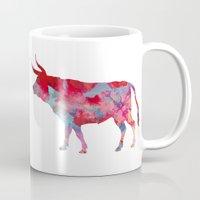 bull Mugs featuring Bull by WatercolorGirlArt