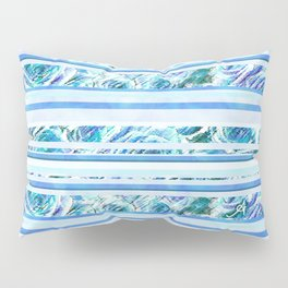 Textured Roses Stripe Blue Amanya Design Pillow Sham