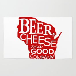 Red and White Beer, Cheese and Good Company Wisconsin Graphic Rug