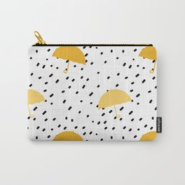 black hand drawn confetti on white background pattern with yellow umbrella Carry-All Pouch