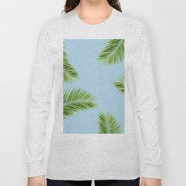 Tropical Palm Leaf Foliage - sky blue Long Sleeve T-shirt