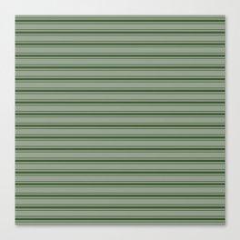 Large Dark Forest Green Mattress Ticking Stripes Canvas Print