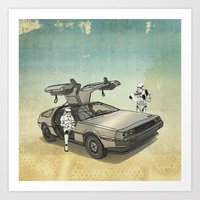 delorean Art Prints featuring Lost, searching for the DeathStarr _ 2 Stormtrooopers in a DeLorean  by Vin Zzep