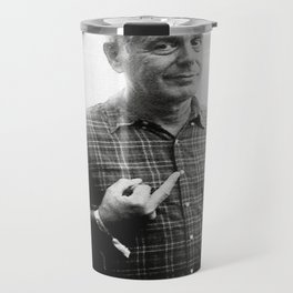 Anthony Bourdain middle finger and drinking beer Travel Mug