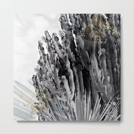 Cactus white & black Metal Print