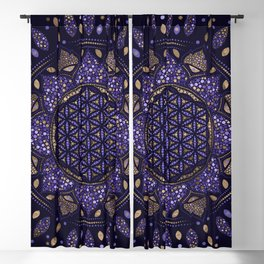 Flower of Life in Lotus Dot Art purples and gold Blackout Curtain