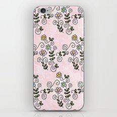 Handdrawn flower pattern iPhone & iPod Skin