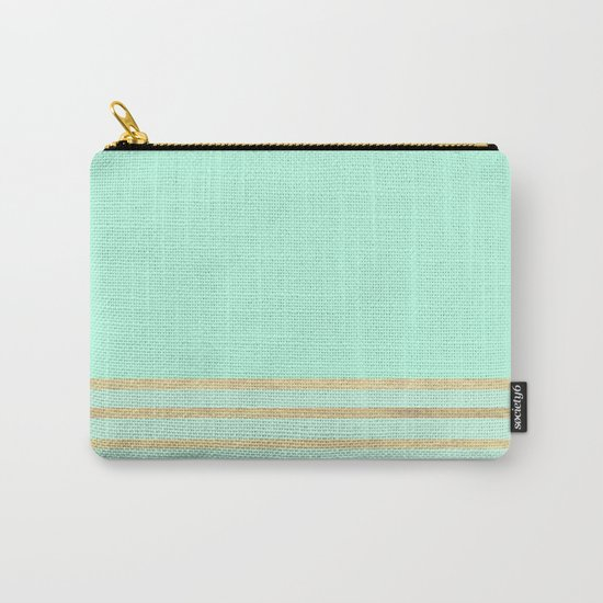 Mint and Gold stripes Carry-All Pouch