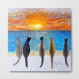 Cat Beach Sunset - Fiery Sky Metal Print