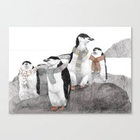 penguins Canvas Prints featuring Penguins by Jamie Mitchell