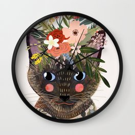 Siamese Cat with Flowers Wall Clock