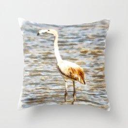 Pretty Flamingo Fledgling Watercolor Throw Pillow