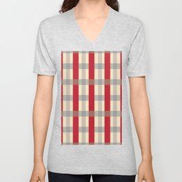 Red Striped Plaid Unisex V-Neck