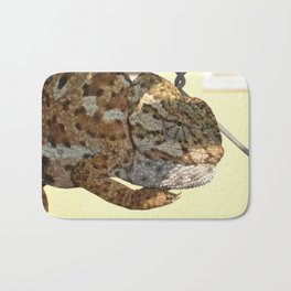 Chameleon Hanging On A Wire Fence Bath Mat