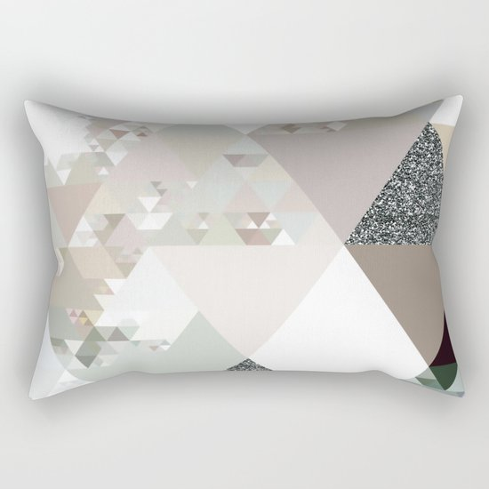 Triangles in glittering graphite quartz - Grey glitter triangle pattern Rectangular Pillow