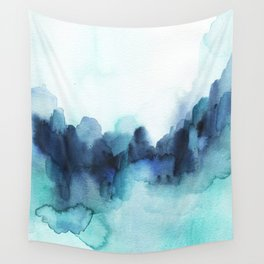 Wonderful blues Abstract watercolor Wall Tapestry