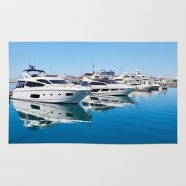 Sea Yacht Club in sunny day Rug