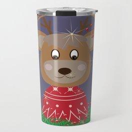 Reindeer in Sweater Christmas Portrait Travel Mug