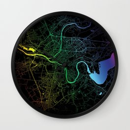 Kaunas, Lithuania, City, Map, Rainbow, Map, Art, Print Wall Clock