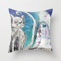 kittens Throw Pillows featuring kittens by Agata Kowalska