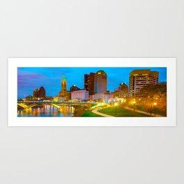 Columbus Ohio Skyline Panorama Along the Scioto Mile Art Print