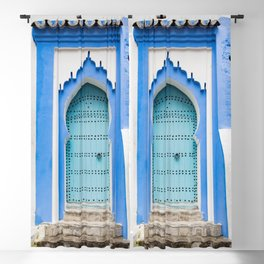 Doors - Chefchaouen, Morocco Blackout Curtain