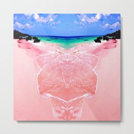 Elafonissi Chania Pink and Turquoise Sea Metal Print